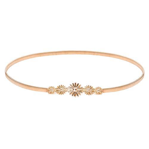Plus Size Gold Elastic Belt Flower Interlocking Buckle Elastic Belt, Gold-Flower, X-Large
