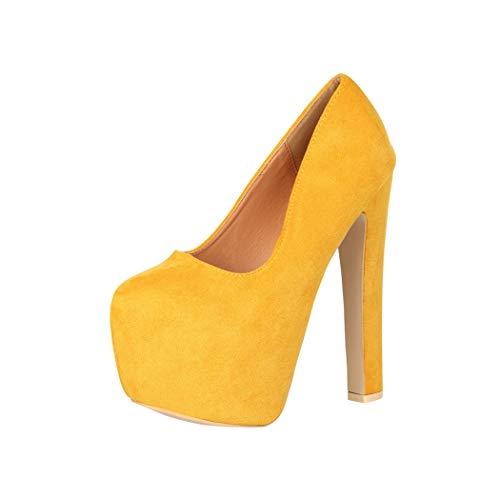 Elara Damen Pumps High Heels Chunkyrayan QM005 Yellow-40