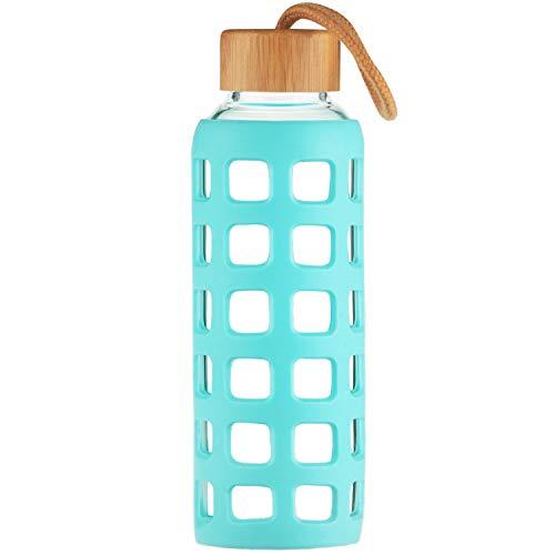Cleesmil Sport Trinkflasche Glas Wasserflasche mit Silikonhülle mit Bambus Deckel 360 ml / 660 ml / 1000 ml