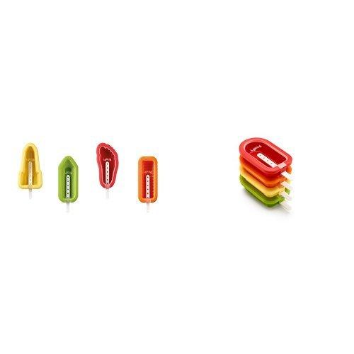 Lékué - Molde para helado icónico, 4 unidades, multicolor + 4 moldes para polos