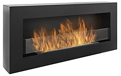 Nice-House Bio Fireplace Box 90 x 40 cm with Glass Panel 900 x 400 mm Bio Ethanol Fireplace Wall Fireplace Black A Box-shaped Bio Fireplace for Hanging on the Wall