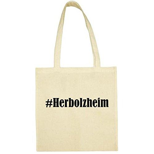 Tasche #Herbolzheim Größe 38x42 Farbe Natur Druck Schwarz