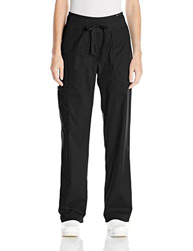 Koi womens Morgan ultra comfortable yoga style knit waist cargo pants, Black, Small