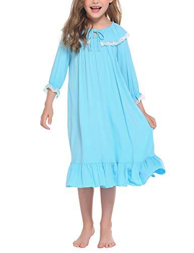 trudge Mädchen Nachthemd Kinder Schlafanzug Kleider Langarm Nachtwäsche Spitze Prinzessin Nightdress Nachtkleider,130,Hellblau