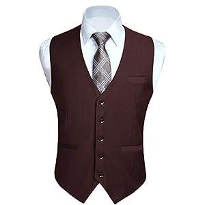 HISDERN Men's Suit Vest Business Formal Dress Waistcoat Vest with 3 Pockets for Suit or Tuxedo