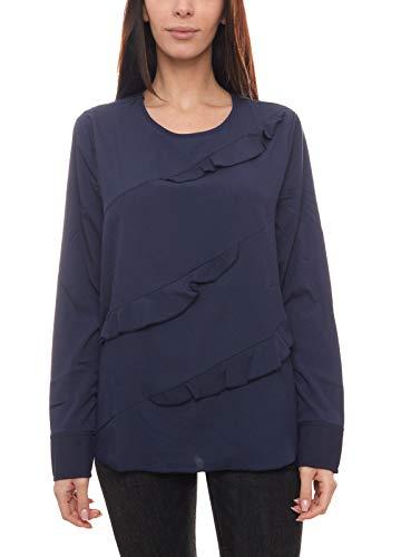 Heine Shirt Rüschen-Bluse fein fließende Langarm-Bluse für Damen mit Rundhalsausschnitt Jersey-Bluse Trend-Shirt Marine, Größe:42