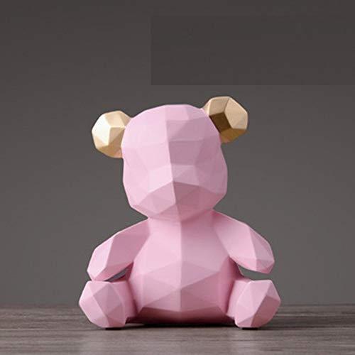 LCDIEB Escultura Geometry Bear Estatua Origami Figuras de Animales Caja de Dinero Resina Artesanía Decoraciones para el hogar Caja de Almacenamiento Dinero para niños Monedas, Rosa