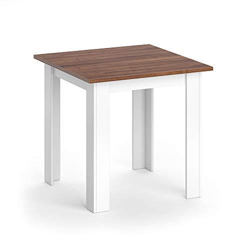 Vicco Esstisch KARLOS Esszimmertisch 80cm Wohnzimmer Küchentisch Tisch (Weiß Nussbaum)
