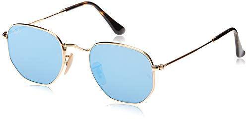 Ray-Ban RB3548N Flat Lens Hexagonal Sunglasses, Shiny Gold/Blue Flash, 54 mm