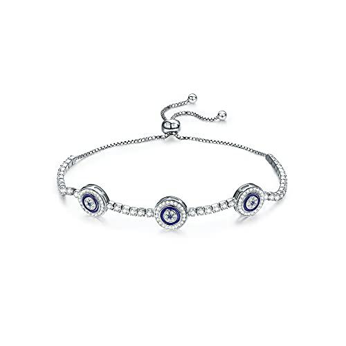 GOXO Pulsera de plata de ley 925 con cadena de ojo malvado, estilo turco, circonita cúbica brillante para mujeres y niñas (mal de ojo)