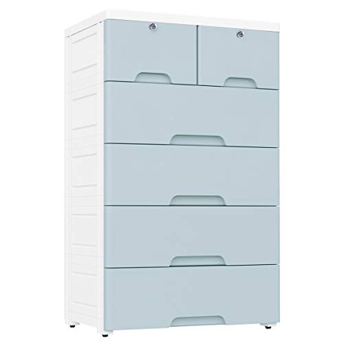 Nafenai Plastic Drawers Dresser,Storage Cabinet with 6 Drawers,Closet Drawers Tall Dresser Organizer for Clothes,Playroom,Bedroom Furniture,Blue-Grey