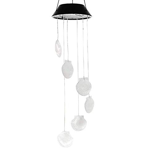 Deals Solar Wind LED Chime - Colorful Color Changing Wind Chimes Garden Lamp Wind-Bell for Home Decor Party (Seashell)