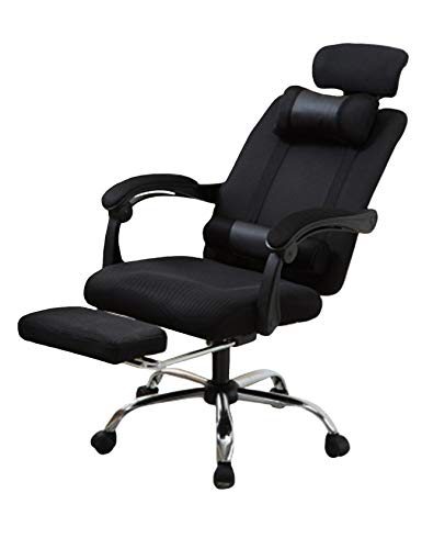 newrong PC Stuhl 360 Grad Drehbar Erweiterbar Bürostuhl Riemenscheibe Ergonomisches Höhenverstellbarer mit 2 Kissen Armlehne Schwarz