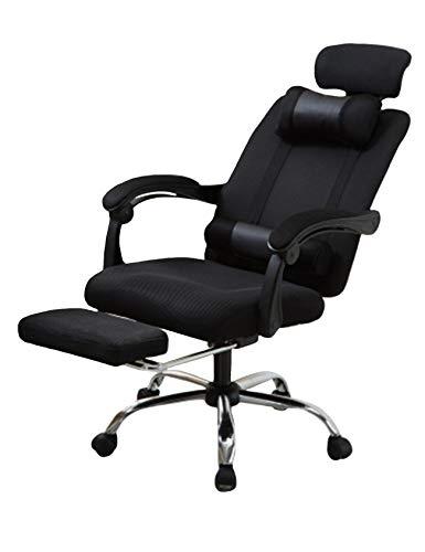 Newrong - Silla de escritorio giratoria 360 grados, extensible, con polea y 2 cojines y reposabrazos, color Negro