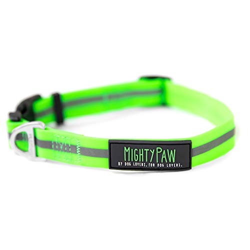 Mighty Paw Waterproof Dog Collar, Smell-Proof Active Dog Gear, Coated Nylon Webbing with Reflective Stripe. (Green, Large)