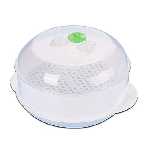 LENVHFKJ Microondas de vaporización de Vapor de plástico de una Sola Capa Accesorios de Horno de microondas con Tapa Herramientas de cocción Suministros de Cocina (Color : White)