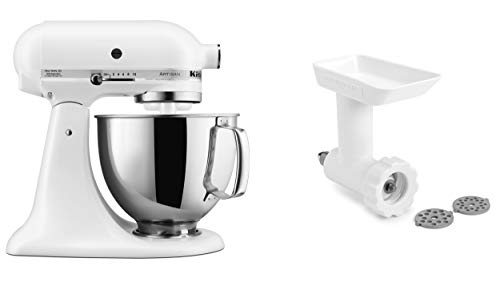 KitchenAid KSM150GBQFW Artisan Tilt-Head Stand Mixer with Food Grinder Attachment, Matte White