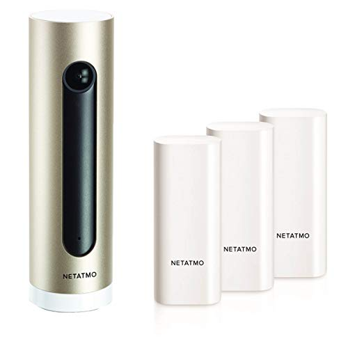 Netatmo Welcome WLAN-Kamera Indoor Sicherheitskamera mit Gesichtserkennung + 3er Set Fenster- und Türkontakt