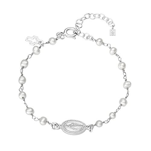 Pulsera medalla virgen Milagrosa, rosario de perlas con cruz de plata 925 ajustable con cadena extensible, regalo mujer, niña, entregado en caja y envoltorio de regalo