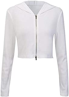 YXHM A Hooded Zipper Cardigan New Knit Sweater Thin Coat Female Autumn (Color : White, Size : M)