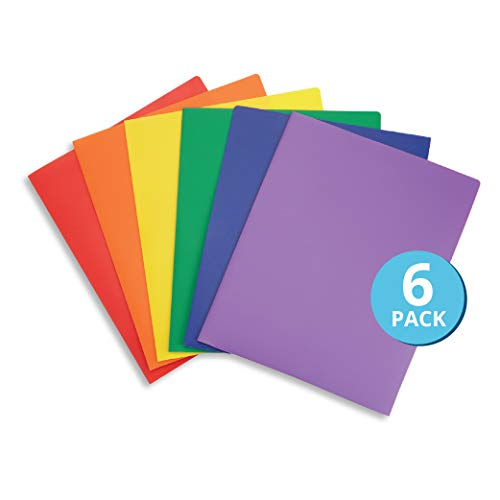6 Pack Multicolor Plastic Two Pocket Folders, Plastic Folders with 2 Pockets and Business Card Slot, 2 Pocket Plastic Folders for School, Home, and Work, 6 Pack Plastic Folders