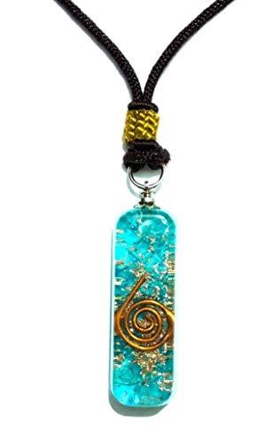 Blue Onyx Gemstone ORGONE Pendant Powerful Reiki Protective Energy Adjustable Necklace