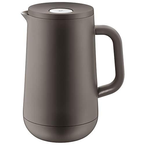 WMF Impulse Thermoskanne 1l, Isolierkanne für Tee oder Kaffee, Druckverschluss, hält Getränke 24h kalt und warm, hellbraun