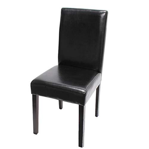 Mendler Esszimmerstuhl Littau, Küchenstuhl Stuhl, Leder - schwarz, dunkle Beine