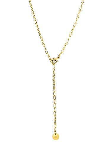 LUAMAYA Espira Necklace   Hochwertige Y Halskette aus Edelstahl für Damen in Gold, Silber und Roségold (Gold)