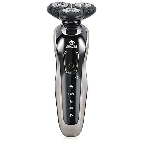 Maquina De Afeitar, maquinilla de afeitar eléctrica afeitadora rotativa impermeable en seco y húmedo recargable por USB