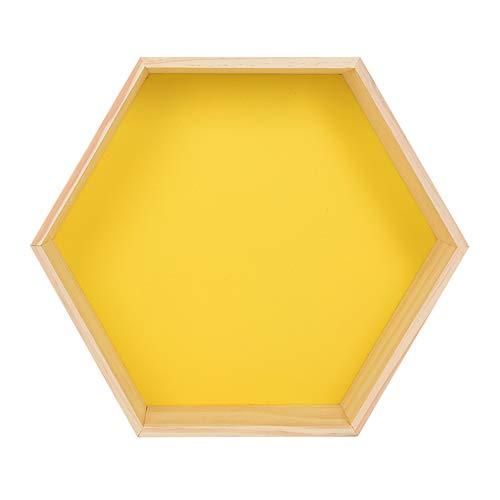 YANGMAN-BJ Hexagon Schwimmdock Regale Wand befestigte Holz Wand Abstellflächen für Schlafzimmer Wohnzimmer Badezimmer Küche Büro und mehr, 27x23x8 cm,Gelb