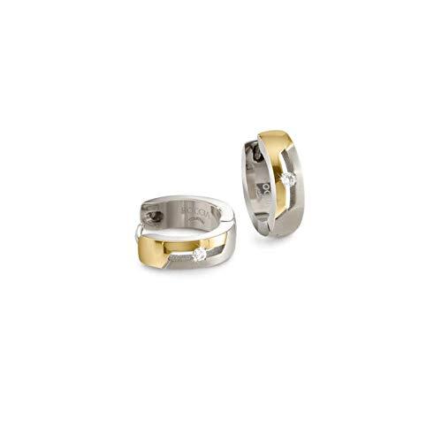 Boccia Pendientes de aro brillantes de titanio bicolor 05045-04.