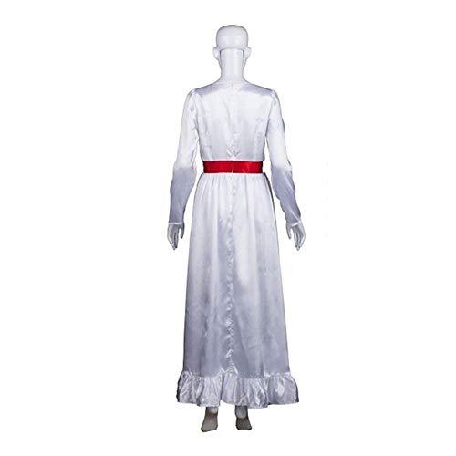 YyiHan Cosplay Disfraz, Annabel 2 a luz Maquillaje Vestido Blanco muñeca de Terror Traje de la muñeca del Fantasma de Halloween Cosplay Etapa espectáculo de Disfraces Fiesta de Disfraces