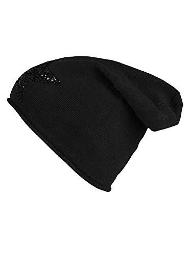 Cashmere Dreams Slouch-Beanie-Mütze mit Kaschmir - Hochwertige Strickmütze für Damen Mädchen - Hat - Pailletten Stern - One Size - Sommer Herbst und Winter Zwillingsherz (Black/Black)