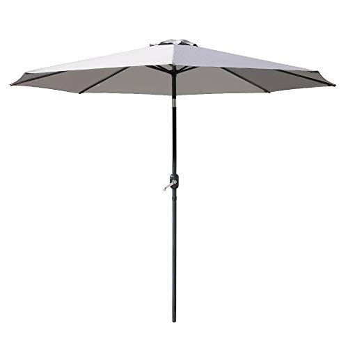 Greenbay 3M Round Garden Parasol Umbrella Outdoor Sun Shade for Patio/Beach/Pool Umbrellas with Winding Crank and 38mm Tilt Pole - Grey