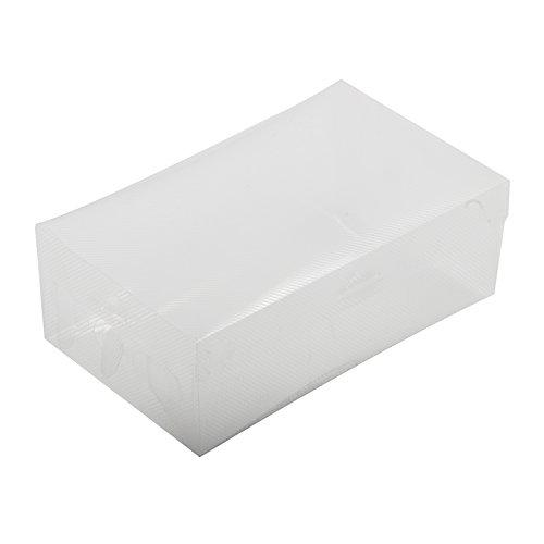 Ctzrzyt Caja de Zapatos de plastica Plegable - Blanco Transparente