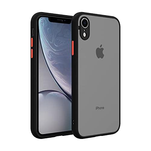SOVICO - Funda de Silicona Compatible iPhone XR - Cubierta a Prueba de Golpes y Rasguños - Funda Protectora de Uso Rudo - Funda Bicolor Traslúcida - Protege tu iPhone con la Mejor Opción (Silicón Traslúcido Bicolor, Negro/Rojo)