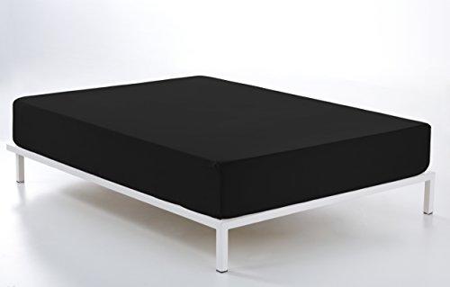 ESTELA - Sábana Bajera Ajustable Combi Color Negro - Cama de 150 cm. - 50% Algodón / 50% Poliéster - 144 Hilos