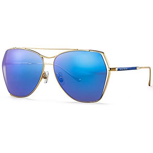 Gafas de sol polarizadas a prueba de rayos UV para mujer, delgadas, elegantes, a la moda, cara modificada, simple y cómoda, llena de sentido de moda (color: azul)