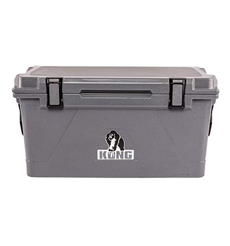 KONG Coolers | 70 Quart Rotomolded | Proudly Made in The USA | Durable, Safe, No-Slip Feet, Extended Ice Retention Cooler (Gorilla Gray)