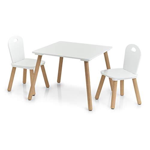 Zeller Scandi-Juego de Muebles Infantiles (3 Piezas), Pino, Tisch: 55x55x43,5 cm Stuhl: 28x28x50 cm