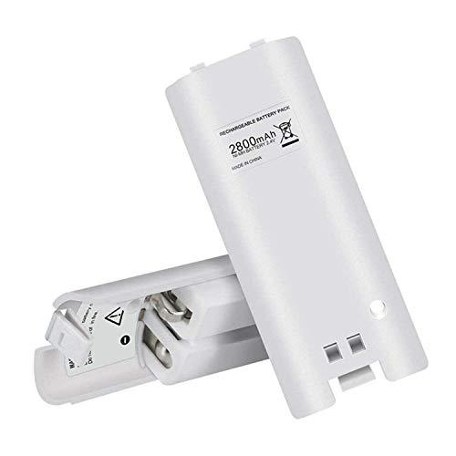 TKOOFN 2 x Batterie AA Ricaricabili per Telecomando per Nin-tendo Wii, Batterie Ad Altissima capacità Perfetto per la Sostituzione (2 Pezzi, Bianco)
