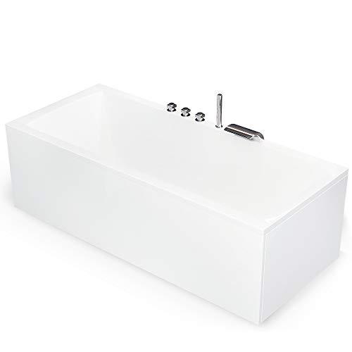 Badewanne 190x90 cm Komplettset inkl. Untergestell, Ab-Überlauf und Schürzen-Set, Rechteck-Badewanne mit 5-Loch- Wannenrandarmatur Model: Bremen