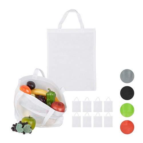 Relaxdays Stoffbeutel 10er Set, unbedruckt, zum Einkaufen, Kurze Henkel, Große Einkaufsbeutel H x B: 49, 5 x 40 cm, Weiß