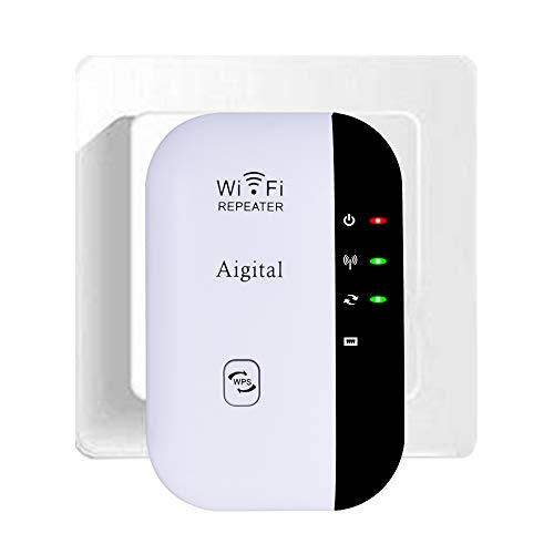 WiFi repetidor Extensor de Red WiFi -300Mbps Mini Wireless Extensor de Rango Inalámbrico Ap Amplificador Repeater Booster Wireless N 2.4GHz Universal EU Enchufe (N300, Puerto LAN, WPS) Aigital
