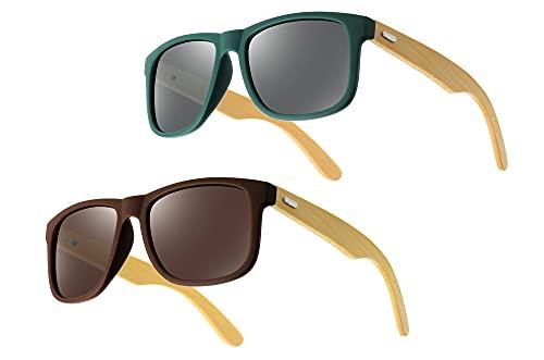 UrbanSky Gafas de Sol Raymond para Mujeres y Hombres - templos de bambú (1x Marrón, 1x Verde)