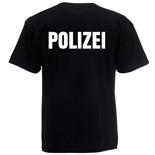 Shirt-Panda Herren Polizei T-Shirt - Druck Beidseitig Brust & Rücken Reflex - Polizist Shirt - 100% Baumwolle - Police Tshirt - In Schwarz, Navy, Weiß, Grün - Schwarz (Druck Weiß) M