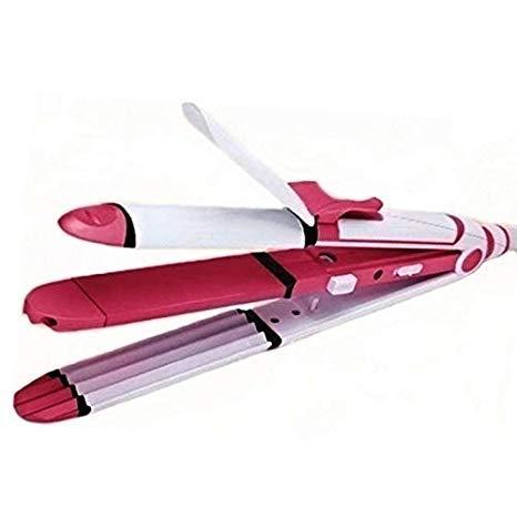 SHOPILLA Kemei Ceramic Professional 3 in 1 Electric Hair Straightener Curler Styler...