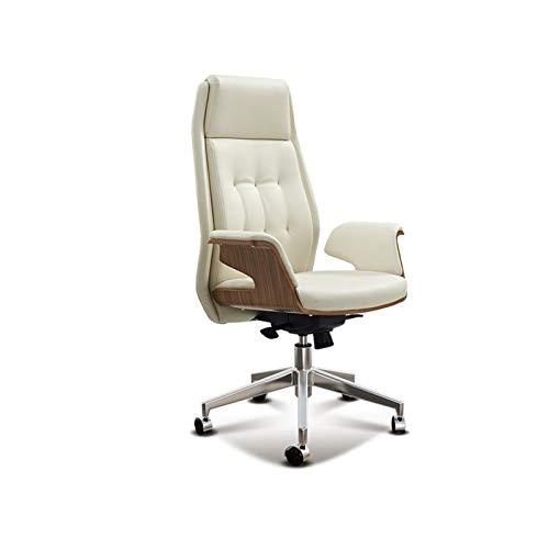 ZLQBHJ Sillas de escritorio de oficina, Sillas de estar reclinables Sillones de sala de estar Silla de oficina de cuero con soporte lumbar - Silla ejecutiva de la espalda alta - Cojín de asiento grues