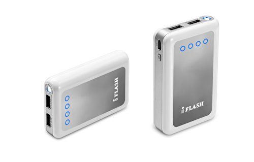 iFlash Dual USB 8400mah External Battery Charger Source with 2.6A Output (fast) Heavy Duty Ouput Support iPad 1 / 2 / 3 / 4, iPad Mini, iPhone 5 / 4S / 4, Google Android Phones, HTC EVO, LG, Samsung Galaxy S II III Note II, BlackBerry Moblie Phones - White